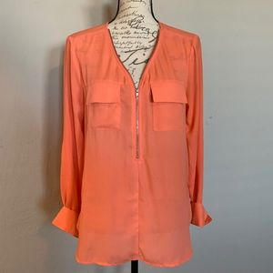 Coral Zip Blouse
